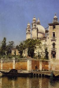 martin rico ortega - vista trasera de santa maria de la salute en venecia - 1833 1908
