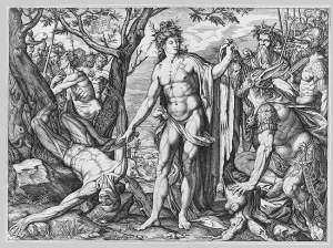 Melchior Meier, Apollo, Marsyas, and the Judgment of Midas, 9 x 12.31 in., engraving, 1572-82