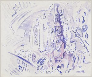 St. Paul's, Manhattan, 1914 Watercolor and charcoal on paper