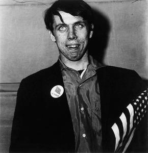 Patriotic young man with a flag, N.Y.C. 1967 Gelatin silver print, printed Diane Arbus